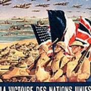 French Propaganda Poster Published In Algeria From World War II 1943 Art Print