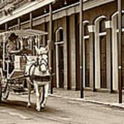 French Quarter Carriage Ride Sepia Art Print