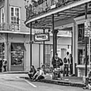 French Quarter - Hangin' Out Bw Art Print by Steve Harrington