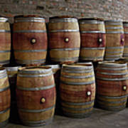 French Wine Barrels Stacked At Winery Art Print