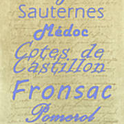 French Wines - Champagne And Bordeaux Region-1 Art Print