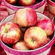 Fresh Apples In Buschel Baskets At Farmers Market Art Print by Teri Virbickis