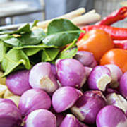 Fresh Ingredients For Cooking Chicken Curry Sauce Closeup Art Print