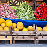Fresh Organic Fruits And Vegetables At A Street Market Art Print