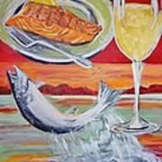 Fresh Salmon Dinner Art Print