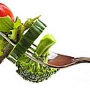 Fresh Vegetables On A Fork Art Print