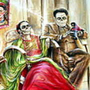 Frida And Diego With Pet Monkey Art Print