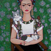 Frida Cat Lover  Art Print
