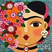 Frida Kahlo With Flowers And Skull Art Print