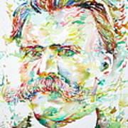 Friedrich Nietzsche Watercolor Portrait Art Print