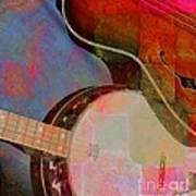 Friends Again Digital Banjo And Guitar Art By Steven Langston Art Print