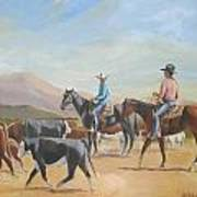 Friends Working Cattle Art Print
