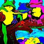 Frog Family Hanging Out On A Limb3 Art Print