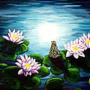 Frog In A Moonlit Pond Art Print