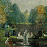 Frog Pond In Boston Public Gardens Art Print