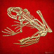 Frog Skeleton In Gold On Red  Art Print