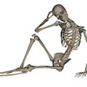 Front View Of A Human Skeleton Posing Art Print