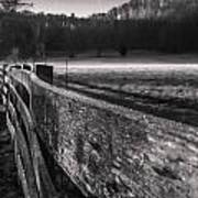 frosty fence in rural Indiana Art Print