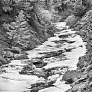 Frozen Boulder Creek Boulder Canyon Colorado Bw Art Print