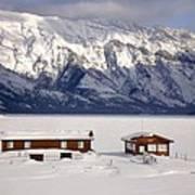 Lake Minnewanka, Alberta - Banff - Frozen Docks Art Print