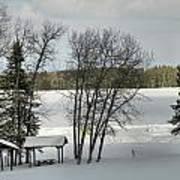 Frozen Lake Fishing Art Print