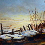 Frozen Lake Near Ste. Adele Art Print