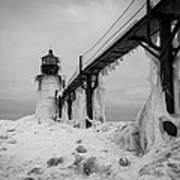 Frozen St. Joseph Lighthouse Art Print