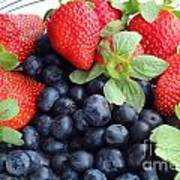 Fruit 2- Strawberries - Blueberries Art Print by Barbara Griffin