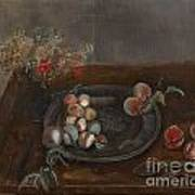 Fruit And Flowers On A Table Art Print