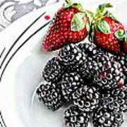 Fruit I - Strawberries - Blackberries Print by Barbara Griffin