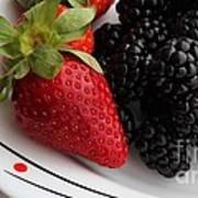 Fruit II - Strawberries - Blackberries Art Print by Barbara Griffin