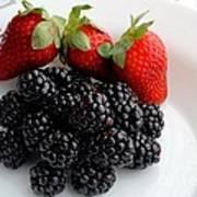 Fruit IIi - Strawberries - Blackberries Art Print