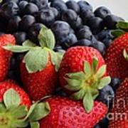 Fruit - Strawberries - Blueberries Print by Barbara Griffin