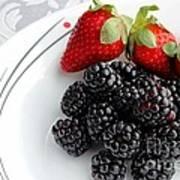 Fruit V - Strawberries - Blackberries Print by Barbara Griffin