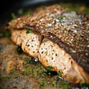 Frying Salmon On Pan Art Print