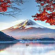 Fuji Mountain In Autumn Art Print