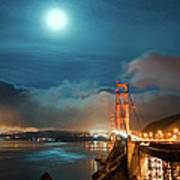 Full Moon And Fog Over The Golden Gate Bridge Art Print