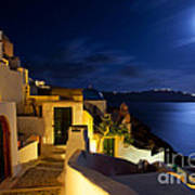 Full Moon At Santorini Art Print by Aiolos Greek Collections
