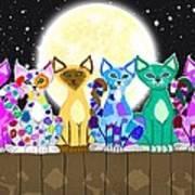 Full Moon Felines Art Print