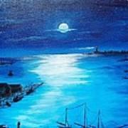Full Moon Harbor Art Print