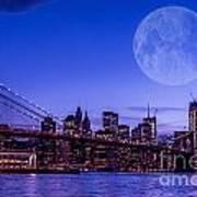 Full Moon Over Manhattan II Art Print
