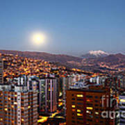 Full Moon Rising Over La Paz Art Print