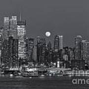 Full Moon Rising Over New York City IIi Art Print