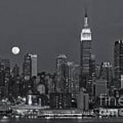 Full Moon Rising Over New York City Iv Art Print