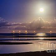 Full Moon Rising Over Sandgate Pier Art Print