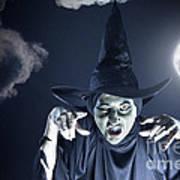 Full Moon Witch Art Print