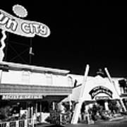 fun city motel and chapel of the bells wedding chapel on the strip Las Vegas Nevada USA Art Print