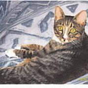 Funky Cat Watercolor Portrait Art Print