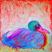 Funky Duck In Snowfall Art Print