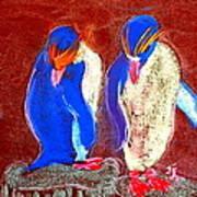 Funky Rockhopper Penguins Art Print